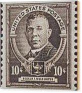 Booker T Washington Postage Stamp Wood Print