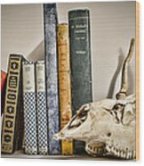 Books And Bones Wood Print by Heather Applegate