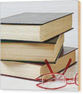 Books And Glasses Wood Print by Carlos Caetano