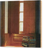 Books On A Window Seat Wood Print