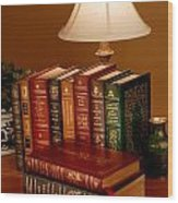 Books Sit On A Desk In A Home Library Wood Print by O. Louis Mazzatenta