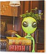 Bookworm Alien Wood Print
