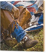 Boots And Quilt On The Trail Wood Print