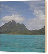 Bora Bora From An Island Motu Wood Print