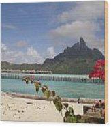 Bora Bora Private Beach Wood Print