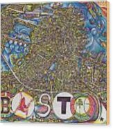 Boston Art Map Wood Print