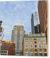 Boston Downtown Wood Print