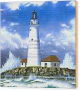 Boston Light Wood Print