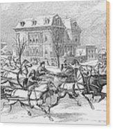Boston: Sleighing, 1854 Wood Print