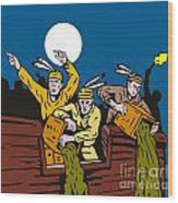 Boston Tea Party Raiders Retro Wood Print