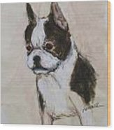 Boston Terrier Puppy Love Wood Print