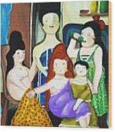 Botero Style Family Wood Print