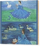 Both Swan Lake Readers Wood Print