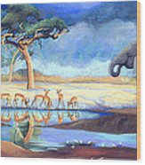Botswana Watering Hole Wood Print