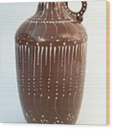 Bottle Of Deep Red Clay With White Slip Decoration And A Handle Wood Print by Carolyn Coffey Wallace