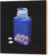 Bottle Of Pills, Negative Image Wood Print