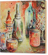 Bottles And Glasses And Mugs 03 Wood Print