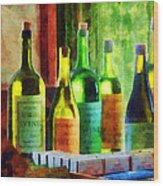 Bottles Of Wine Near Window Wood Print