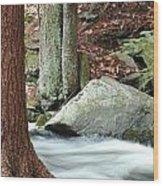 Boulder And Stream Wood Print
