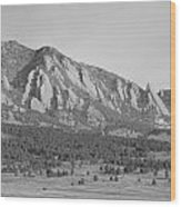 Boulder Colorado Flatiron Scenic View With Ncar Bw Wood Print