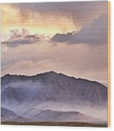 Boulder Colorado Flatirons And The Flagstaff Fire Wood Print