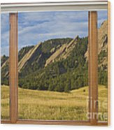 Boulder Colorado Flatirons Window Scenic View Wood Print