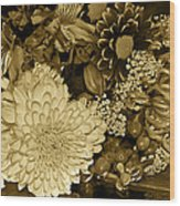 Bouquet In Sepia Wood Print