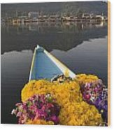 Bouquet Of Flowers In Bow Of Boat Dal Wood Print