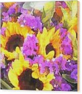 Bouquet Of Sunflowers And Purple Statice Wood Print