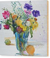 Bouquet Study With Anemones Wood Print