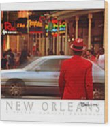 Bourbon Street Man In Red Suit Wood Print
