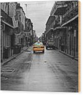 Bourbon Street Taxi Cab French Quarter New Orleans Color Splash Black And White Wood Print
