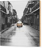 Bourbon Street Taxi French Quarter New Orleans Color Splash Black And White Diffuse Glow Digital Art Wood Print