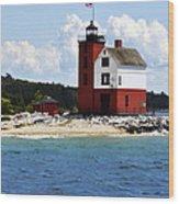 Round Island Light House Michigan Wood Print