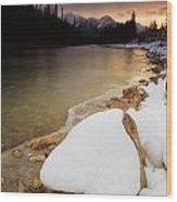 Bow River Sunrise Wood Print