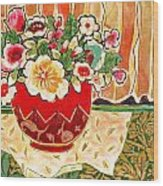 Bowl And Blossoms Wood Print by Diane Fine