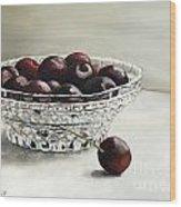 Bowl Full Of Cherries Wood Print