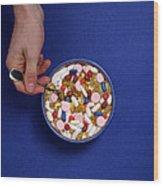 Bowl Of Pills Wood Print
