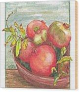 Bowl Of Pomegranates Wood Print