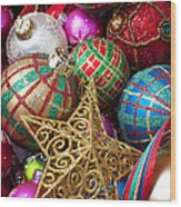 Box Of Christmas Ornaments With Star Wood Print