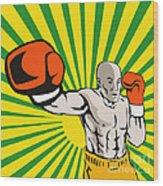 Boxer Boxing Jabbing Front Wood Print