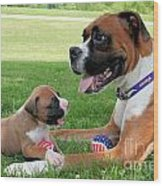 Boxer Mommy And Pup Wood Print