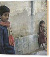 Boy And Girl Wood Print