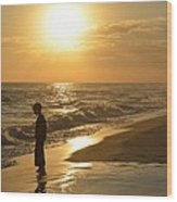 Boy And The Sea Wood Print
