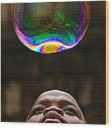 Boy Blowing Bubble Wood Print