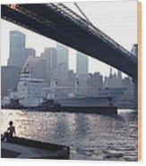 Boy Freighter Brooklyn Bridge Sunset Wood Print