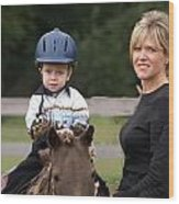 Boy His Horse And Mom Wood Print