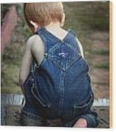 Boy In Overalls Wood Print