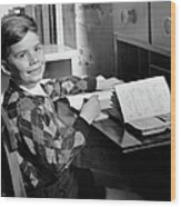 Boy Indoor At Desk Wood Print