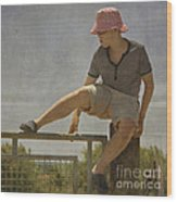 Boy On A Fence Waiting For Lance Armstrong Wood Print